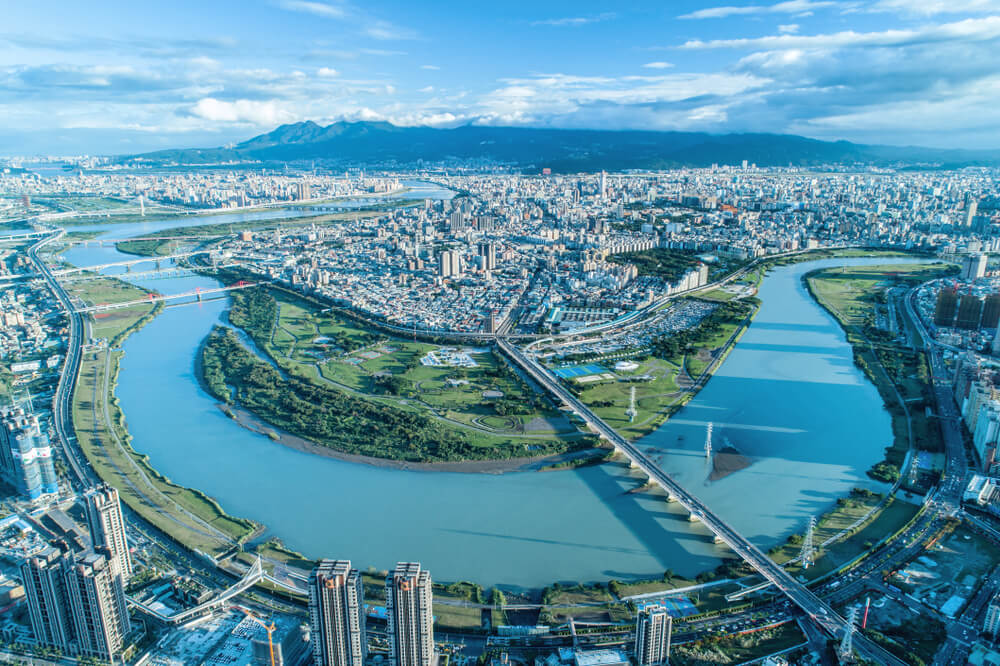 Aerial view of Taipei City, Taiwan